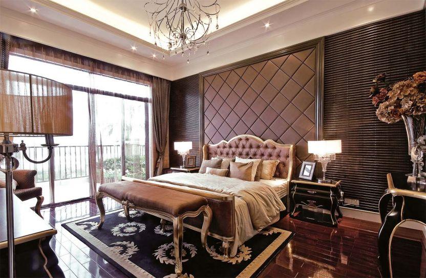 卧室咖啡色欧式U乐国际窗帘案例图片