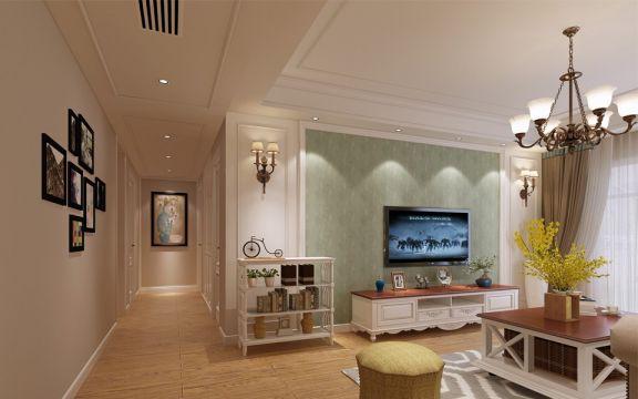 客厅白色现代简约风格装潢效果图