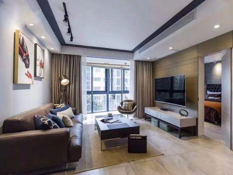 客厅咖啡色沙发现代风格装潢图片