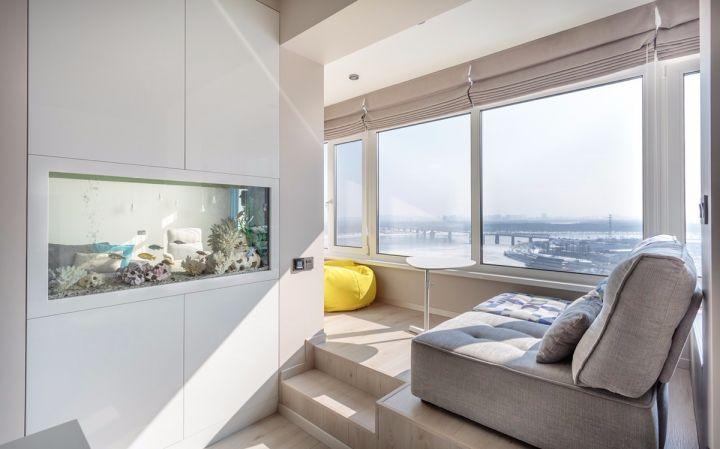 阳台灰色沙发简约风格效果图