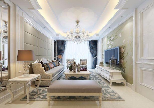 客厅白色简欧风格效果图