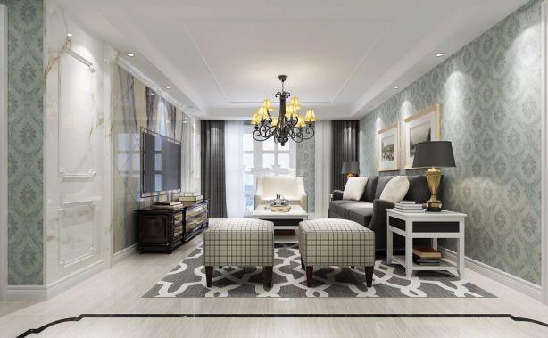 客厅白色简欧风格装饰效果图