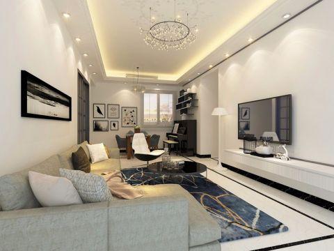 客厅白色简欧风格装潢效果图