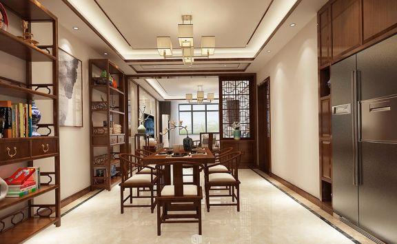餐厅白色地砖新中式风格装潢图片