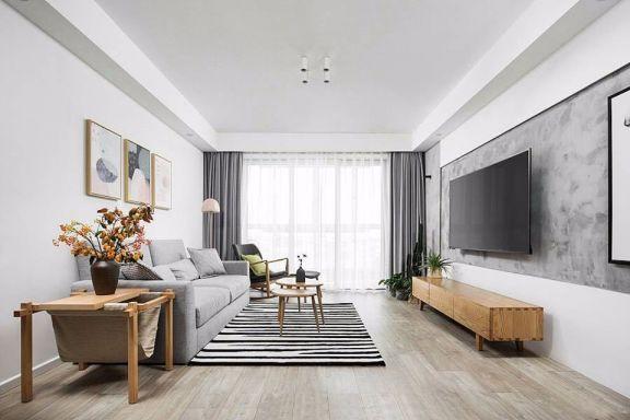 客厅灰色背景墙北欧风格装修设计图片