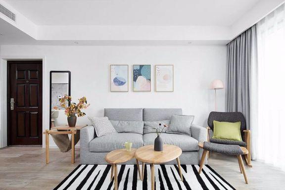 客厅灰色沙发北欧风格装潢设计图片