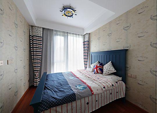 卧室彩色窗帘室内装饰
