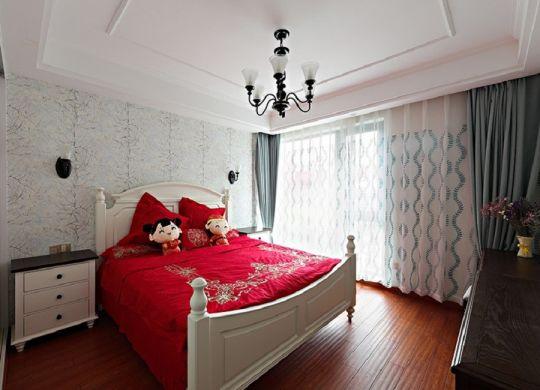 卧室床头柜美式装潢实景图片