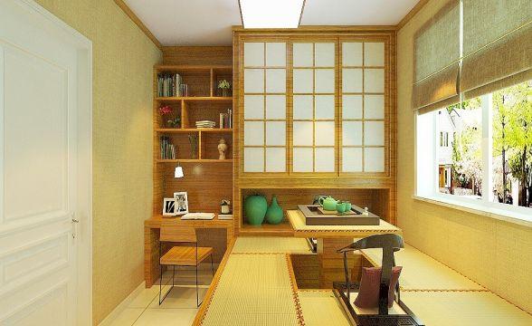书房黄色榻榻米室内效果图