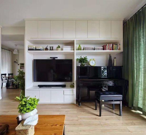 现代简约客厅窗帘装修实景图