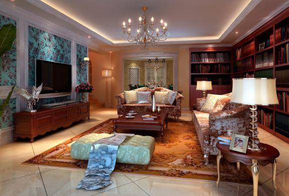 整个空间中,没有夸张的造型,亦无强烈的视觉冲击,米白、深蓝、米咖……这些温柔的颜色静静融合,结合线条优雅,造型精致的家具,整个空间呈现出一幅恬淡、浪漫的的欧式画卷。