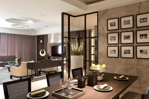 东方花广黄宅141平后现代风格三室一厅装修效果图