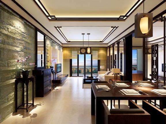 120平方中式风格3室两厅中建华效果图
