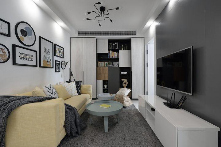 现代简约风格61平米两室两厅室内装修效果图
