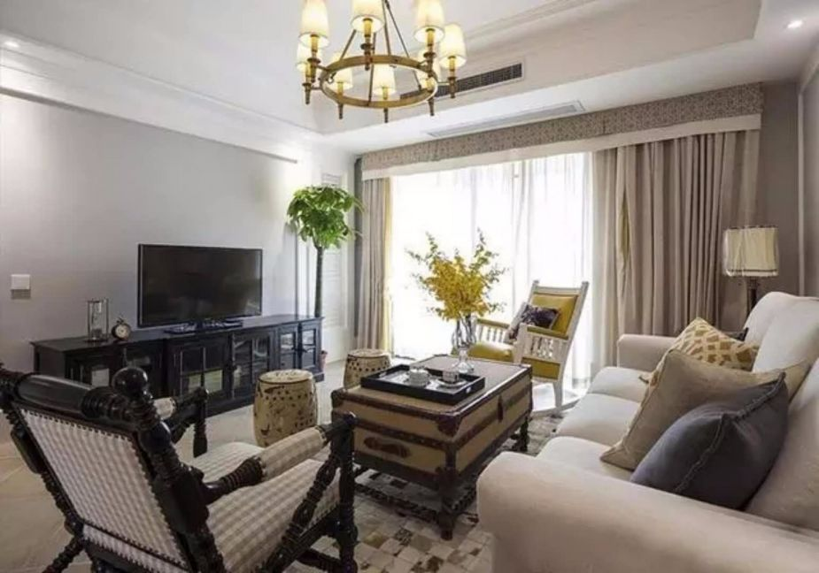 古朴客厅装潢实景图片