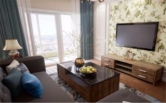 美式风格84平米三室一厅新房装修效果图