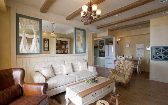 美式风格88平米三室一厅新房装修效果图
