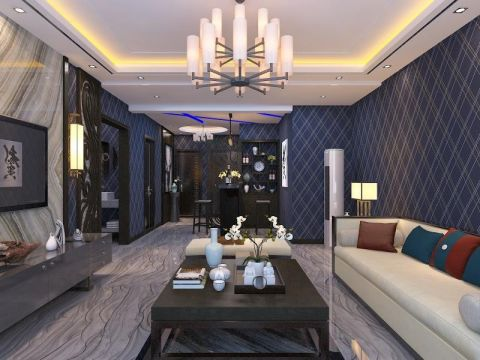 紫锦城150平米新中式风格三居室三室两厅家装效果图