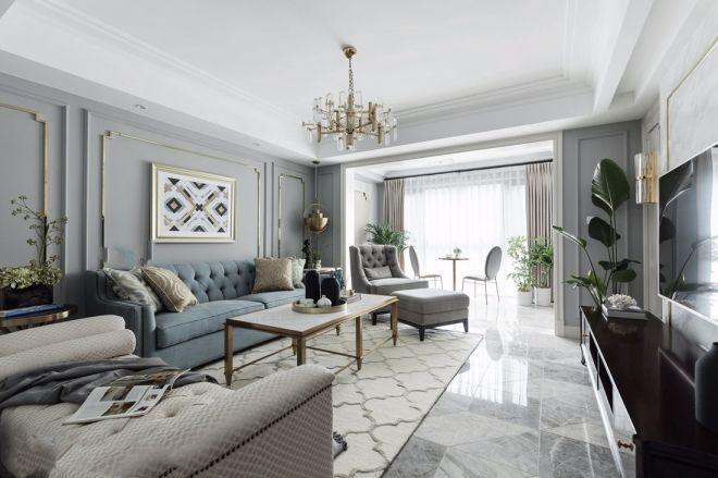 现代欧式风格135平米三室两厅新房装修效果图