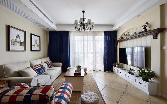 美式风格98平米两室两厅新房装修效果图