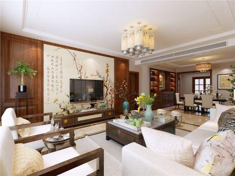 合肥玖龙府100平中式风格三居室装修效果图案例