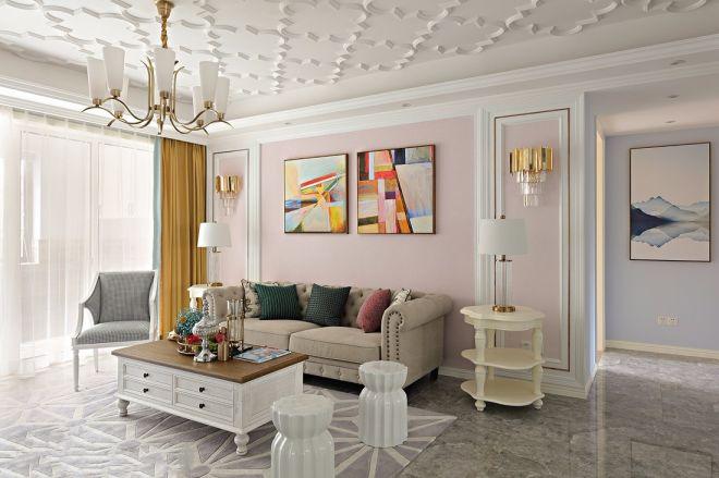 水晶丽都120平法式风格三居室装修效果图