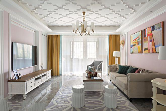 法式风格120平米三室两厅新房装修效果图