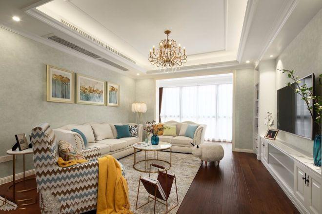 美林青城 100平 美式风格 两居室 装修效果图图片