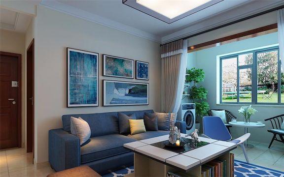 客厅沙发现代简约装潢实景图片