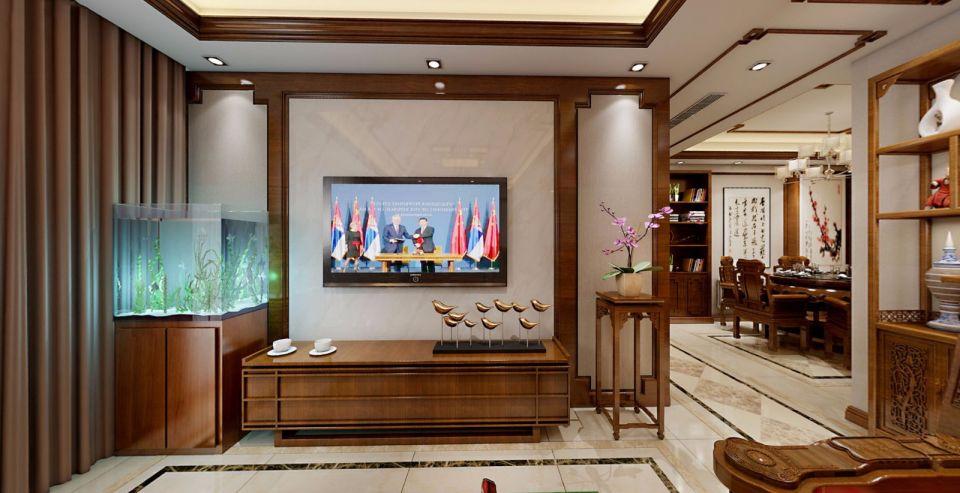 2019中式客厅装修设计 2019中式电视柜装修图片