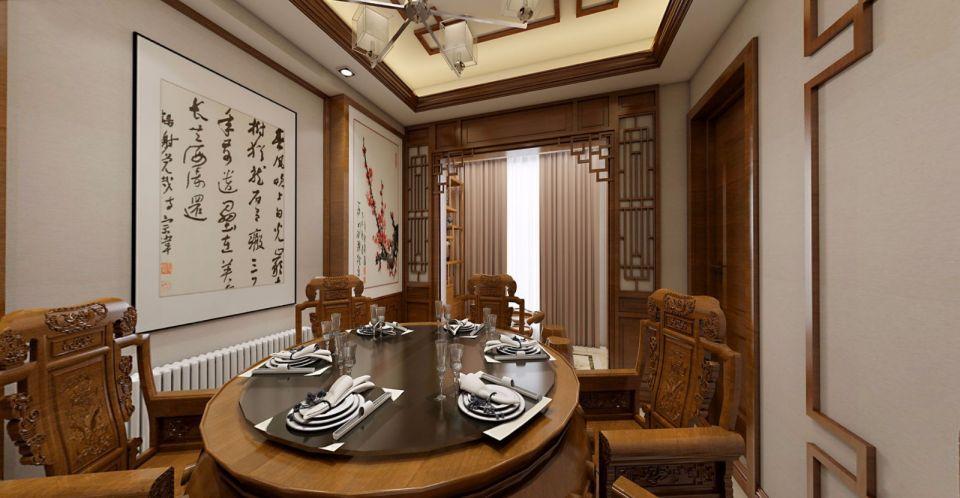 简约餐厅中式装潢实景图