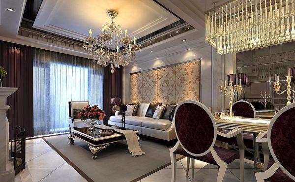 欧式风格96平米两室两厅新房装修效果图