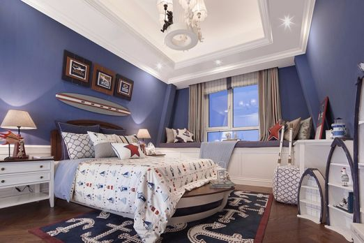 美式风格143平米三室两厅新房装修效果图
