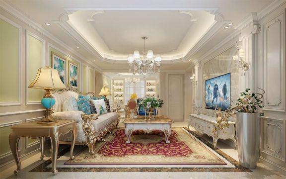 清新素丽客厅简欧室内装修设计