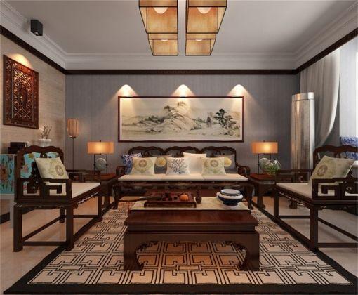 中式风格93平米两室两厅新房装修效果图