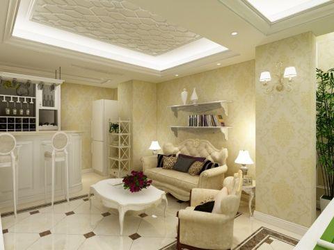 简美风格60平米一居室新房装修效果图