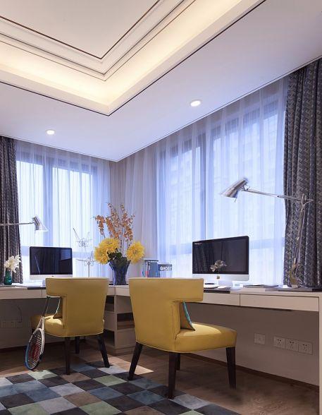 书房窗帘现代风格装潢效果图