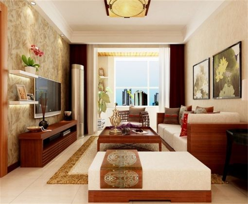 客厅窗帘东南亚风格装修设计图片