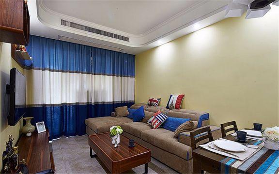 地中海风格108平米三室两厅新房装修效果图