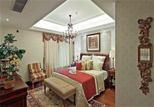 美式风格133平米三室两厅新房装修效果图
