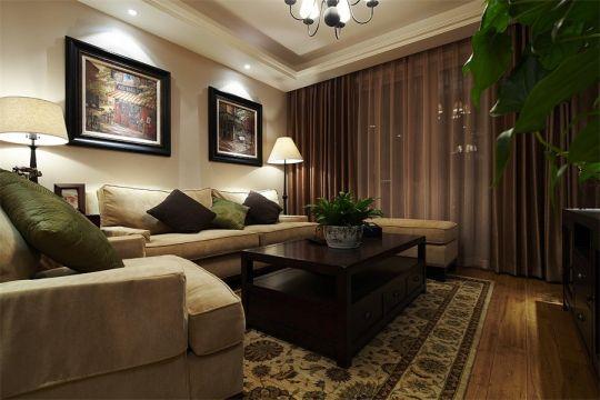 美式风格122平米三室两厅新房装修效果图