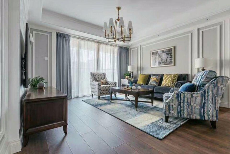 美式风格110平米三室两厅新房装修效果图
