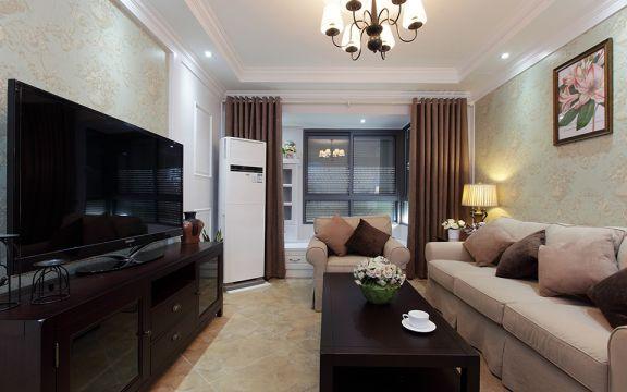 90平米美式两室两厅一卫装修效果图