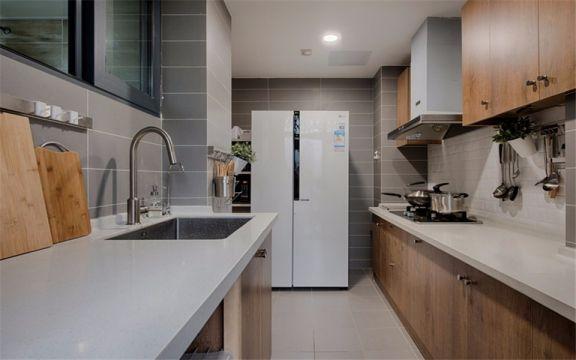 厨房咖啡色橱柜北欧风格装潢效果图