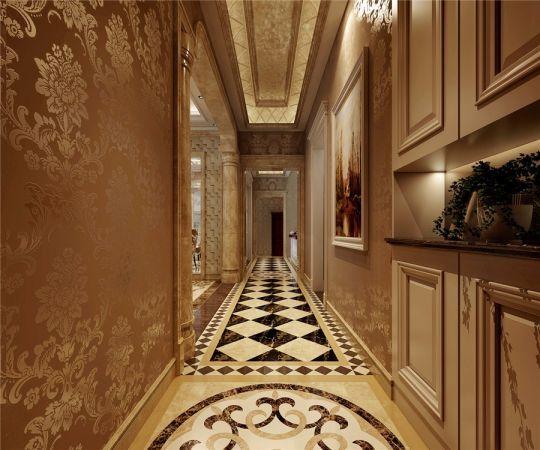 玄关黄色走廊欧式风格装潢图片