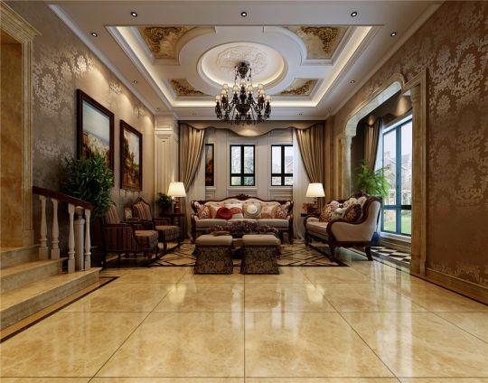 客厅白色吊顶欧式风格装修设计图片