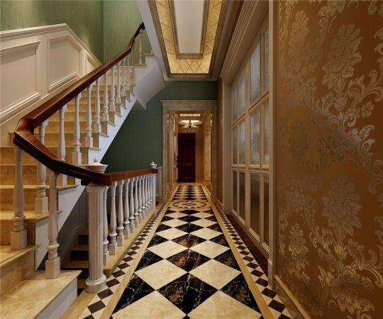 玄关黄色楼梯欧式风格装饰设计图片