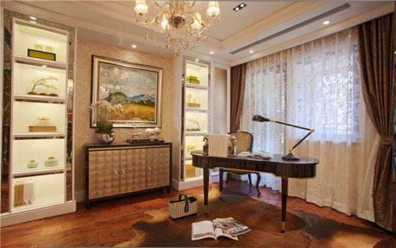 书房咖啡色窗帘简欧风格装饰效果图