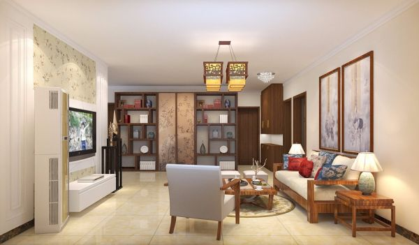 客厅白色电视柜中式风格装修图片