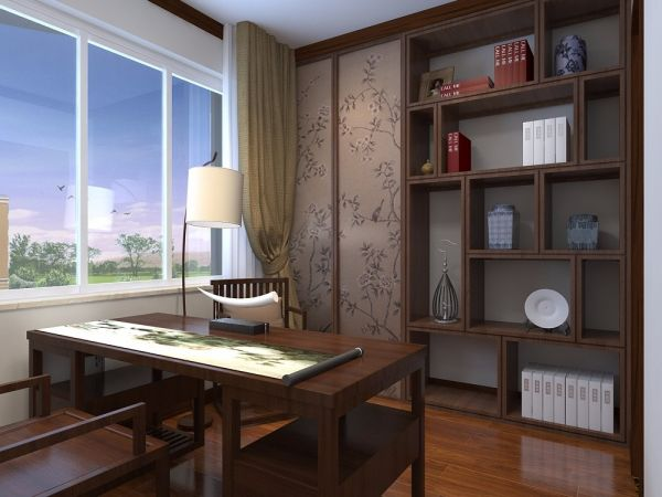 书房咖啡色博古架中式风格装饰图片
